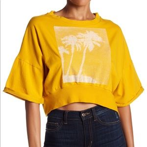 Free People Movement Surfs Up Palm Tree Crop Tee S
